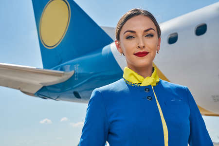 Pretty stewardess posing against the landed airliner Imagens