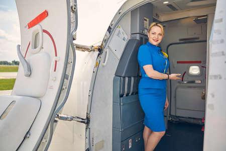 Friendly stewardess standing in the aircraft doorway Reklamní fotografie