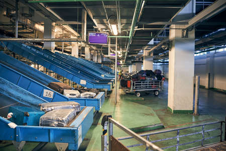Baggage handling and sorting area at the airport