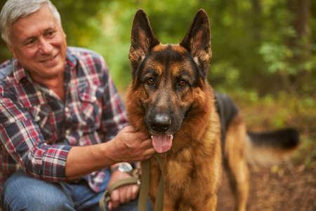 Aging man posing with his german shepherd in the woods Archivio Fotografico