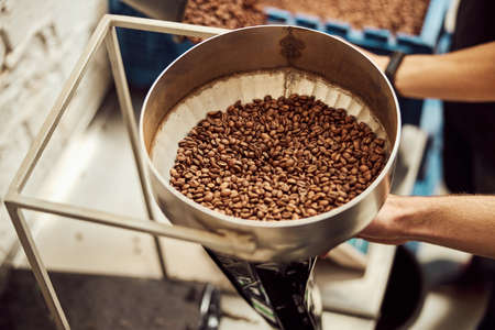 Male worker holding metal bowl with coffee beans Archivio Fotografico