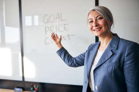 Cheerful businesswoman pointing at whiteboard in office