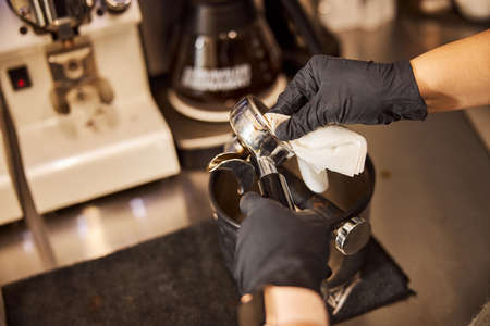 Cleaning all the parts of espresso machine after using it