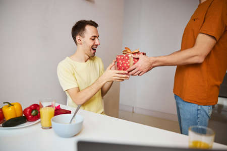 Cheerful young man accepting gift box from loving boyfriend Foto de archivo