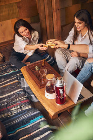 Cheerful friends clinking cups of tea in cozy cafe
