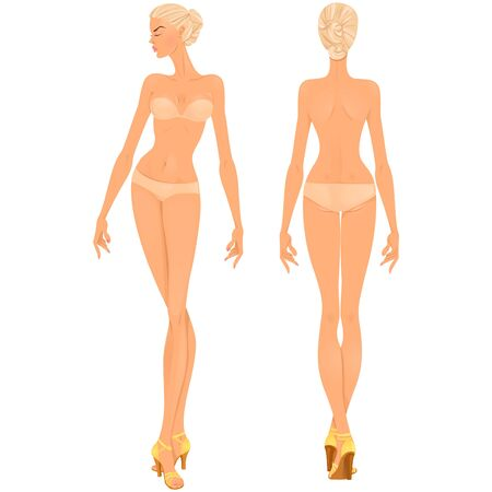 Beautiful young woman. Body template, front and back views for clothing design purposes or paper doll game.