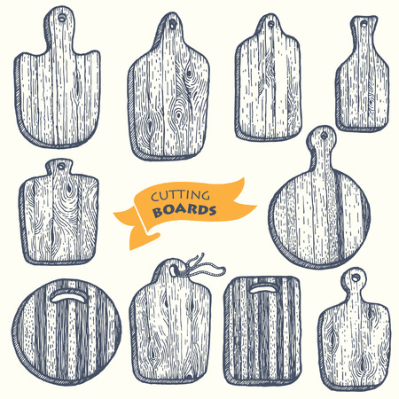Set of kitchen cutting boards. Vector.