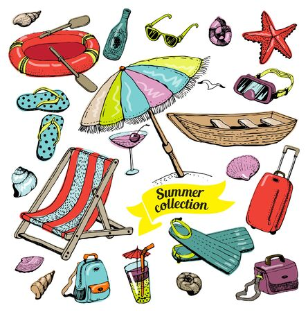Set of things for planning a summer vacation and tourism. Vector.