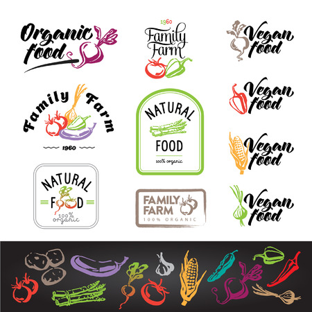 Set of Vegetarian food labels, graphic for vegetable farmer logo products. Vector