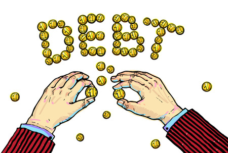 constituting: Hands constituting word DEBT from the coins.