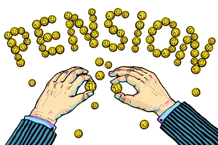 constituting: Hands constituting word PENSION from the coins.