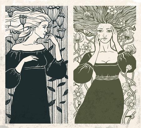 stile liberty: Due belle donne in stile art nouveau. Vettore.