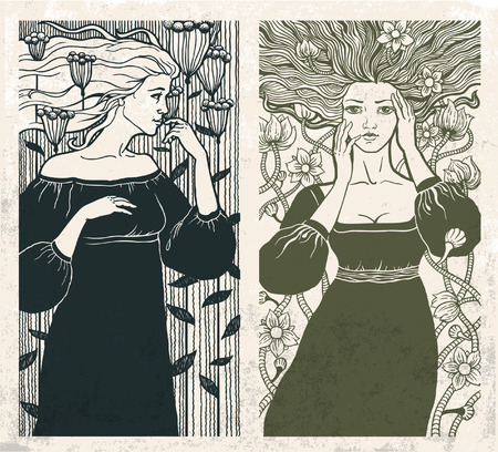 classic woman: Two beautiful women in art nouveau style. Vector.