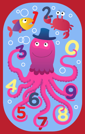 Fun numbers children's rug. Octopus with fish and crab are playing with numbers.