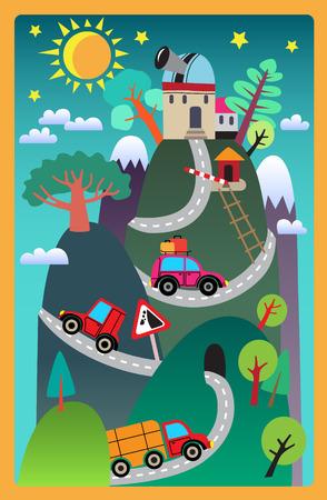 landscape road: Fun childrens road rug.