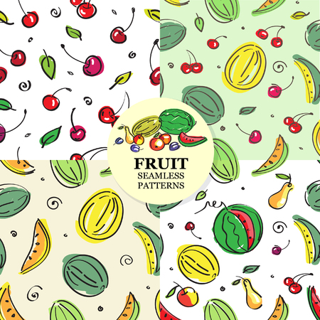 Set of fruit seamless pattern. Cherries, melons, watermelons, pears. Vector