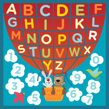 childrens: Fun numbers and letters childrens rug. Illustration