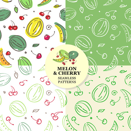 Set of fruit seamless pattern. Cherry and melon. Vector