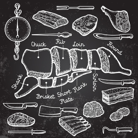 pork: Different cuts of meat and set of knives. Vector.