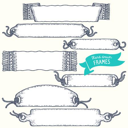 hand drawn frame: Set of hand drawn frame. Vector.