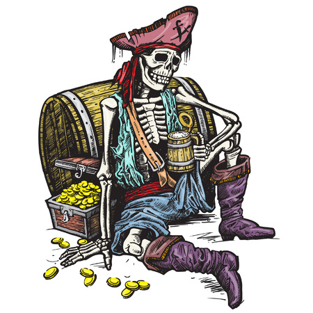 A skeleton pirate holding a mug of beer. There are the treasure chest of gold near him. Vector. Çizim