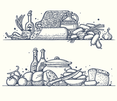 Still life with various sausages. Vector.