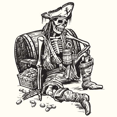 A skeleton pirate holding a mug of beer. There are the treasure chest of gold near him. Vector.