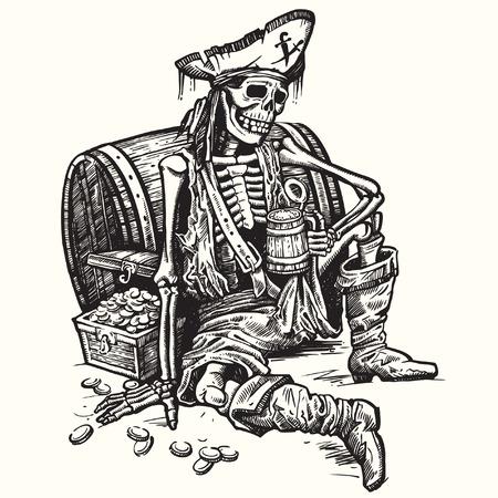 borracho: Un pirata esqueleto sosteniendo una jarra de cerveza. Hay el cofre del tesoro de oro cerca de él. Vector.