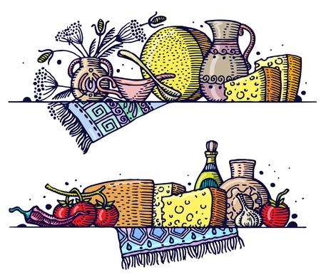 Still life with cheese. Vector.  イラスト・ベクター素材