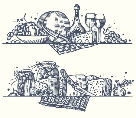 parmesan: Still life with cheese. Vector. Illustration