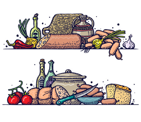 country life: Still life with various sausages. Vector.