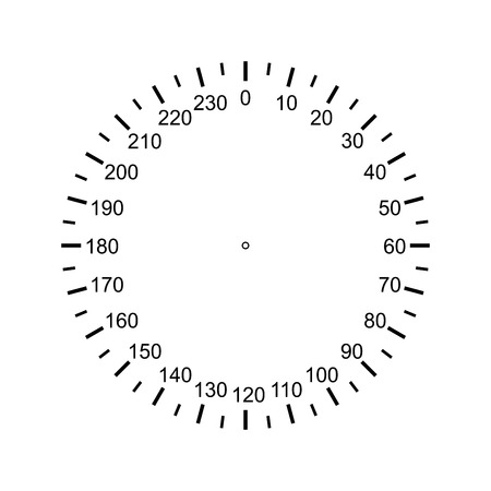 Measuring circle scale. Measuring round scale, Level indicator, measurement acceleration, circular meter, round meter for household appliances, division from to 230. Vector EPS10
