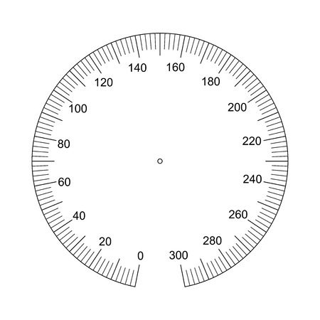 Manometer face. Measuring circle scale. Measuring round scale, Level indicator, measurement acceleration, circular meter, round meter for household appliances division from 0 to 300. Vector EPS10
