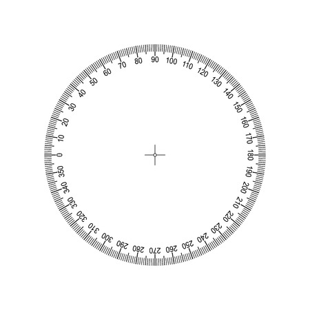 Protractor 360 degrees Measuring circle scale. Measuring round scale, Level indicator, measurement acceleration, circular meter for household appliances division from 0 to 350. Graduation Vector EPS10 Stock Illustratie