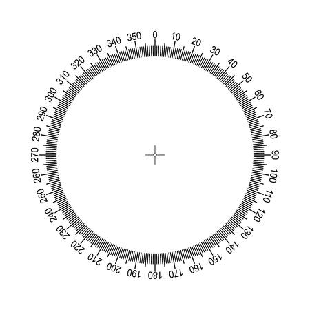 Escala circular de medición. Escala redonda de medición, indicador de nivel, aceleración de la medición, medidor circular para la división de electrodomésticos de hasta 350. Graduación 360 grados Vector EPS10 Ilustración de vector
