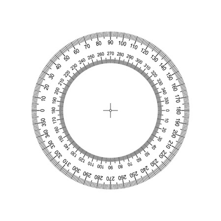 Circular Protractor. Protractor grid for measuring degrees. Tilt angle meter. Measuring tool. Measuring circle scale. Measuring round scale, Level indicator, circular meter Vectores
