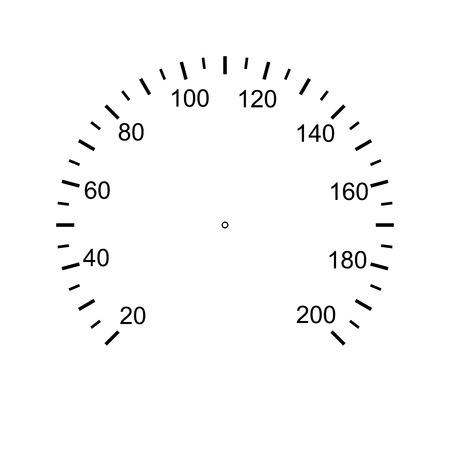 Speedometer face. Measuring circle scale. Measuring round scale, Level indicator, measurement acceleration, circular meter, round meter for household appliances division from 20 to 200. Vector EPS10