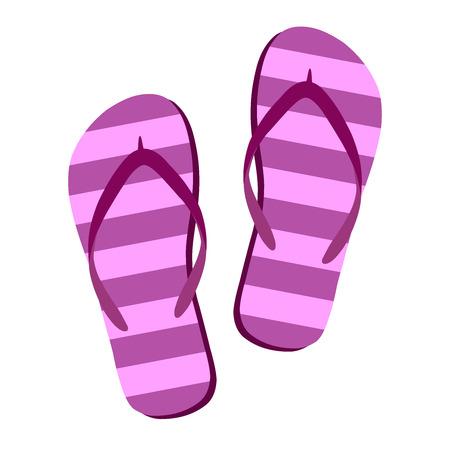 Infradito isolare su uno sfondo bianco. Icona di pantofole. Infradito colorate rosa, viola a strisce su sfondo bianco. Illustrazione di vettore Eps10.