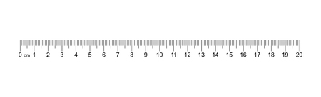 Ruler 20 cm. Measuring tool. Ruler Graduation. Ruler grid 20 cm. Size indicator units. Metric Centimeter size indicators.