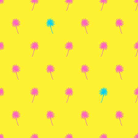 Palm trees seamless pattern. Tropical summer background. Pink blue palm on yellow background. Exotic seamless pattern with palm. 向量圖像