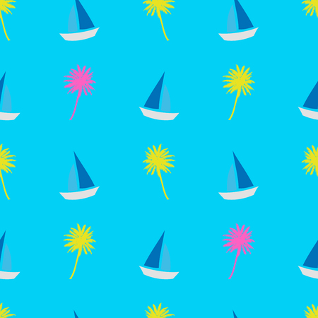 Summer seamless pattern. Ship, palm ropical summer background. Yellow pink palm on blue background. Exotic seamless pattern with palm, sailboat.