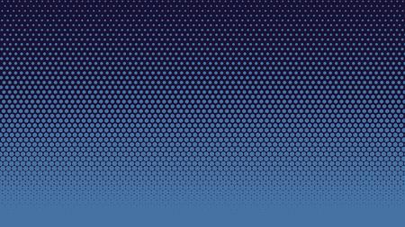 Ilustración de vector de fondo de puntos degradados de semitono. Textura de semitono oscuro azul punteado, azul. Semitono azul del arte pop, patrón de cómics. Antecedentes del arte.
