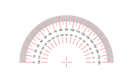 Protractor. Protractor grid for measuring degrees. Tilt angle meter. Measuring tool.