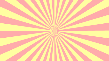 Pink yellow rays. Soft colors background. Sun rays poster. Sunbeams. Pop Art Background. Retro Background. Comic star burst rays. Vintage abstract background with rays. Vector