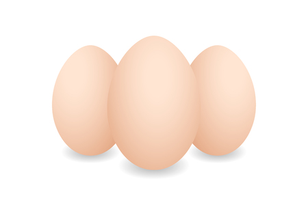 Three Realistic eggs. Brown chicken eggs. Vector 3D eggs with shadows on white background. Eggs template, food concept.