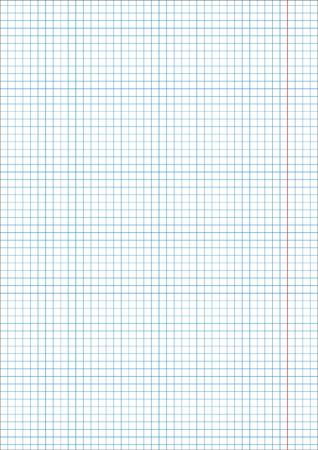 A4 sheet vertical cage 5 mm millimeter pattern of school notebook. Blue grid Page template. Background sheet in squares. Grid size 5mm. Texture for checkered A4 notebook, With a red line. Ilustração