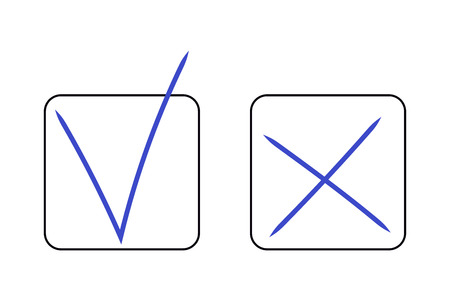 Hand-drawn real YES and NO signs, OK and X symbol icons, Tick and cross, check mark approval, cross sign reject, calligraphic. Blue realistic sign made by pen in black square box border on white