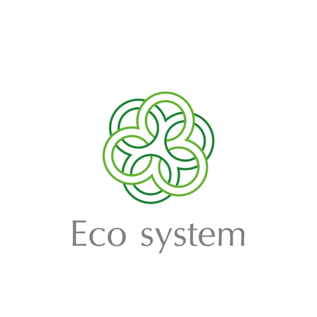 Abstract Circle logo template. Tree circles combined. Icons business logo. Concept of unity. Green triple icon eco system.