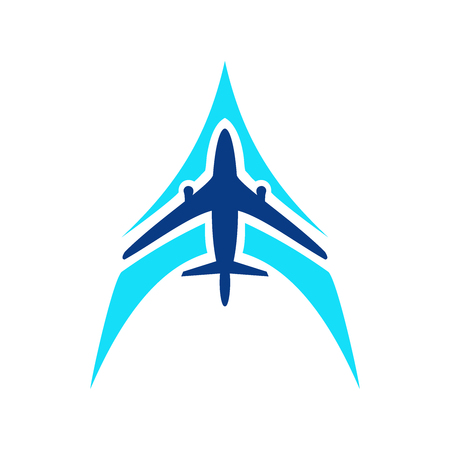 Airplane symbol vector. Airplane logo template. Aircraft silhouette sign for transportation company. Travel agency icon. Blue design air company logo. Airline icon. Air plane logotype Vector