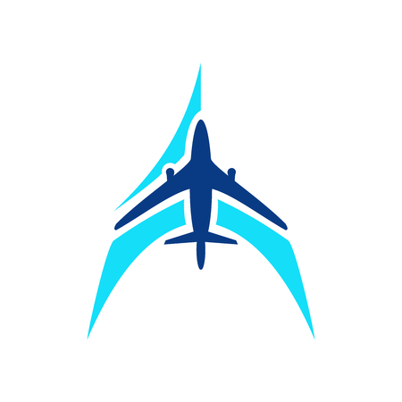 Airplane symbol vector. Airplane logo template. Aircraft silhouette sign for transportation company. Travel agency icon. Blue design air company logo. Airline icon. Air plane logotype Vector Stock Vector - 102330279